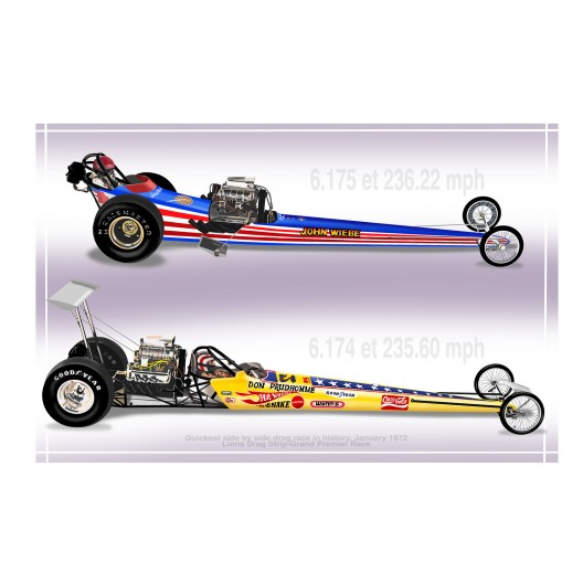 Worlds Fastest Side by Side Drag Race Drag Racing Art