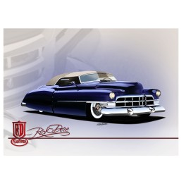 Blue Cadillac Custom Car Art