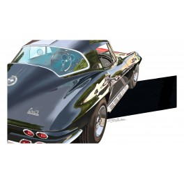 Black Corvette automotive art