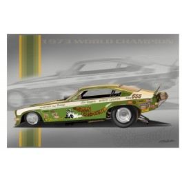 Jim Green's Green Elephant Funny Car drag racing art