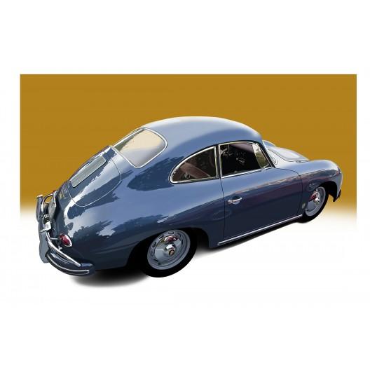 Blue Porsche automotive art