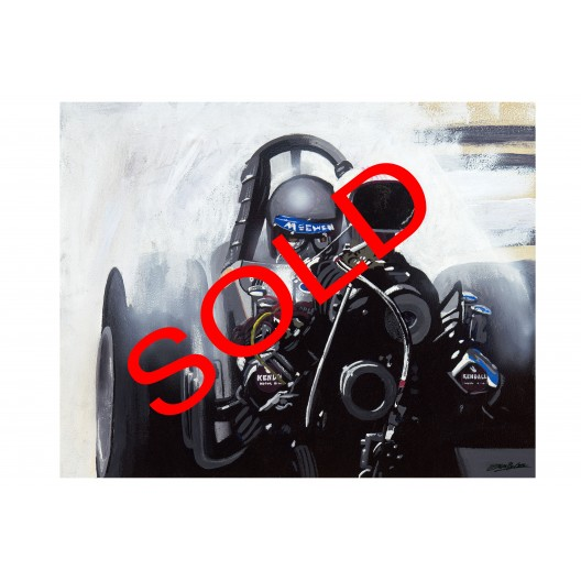 Original Tom McEwen dragster drag racing art