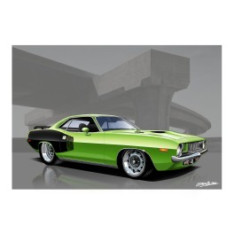 Green Barracuda Mopar Automotive Art