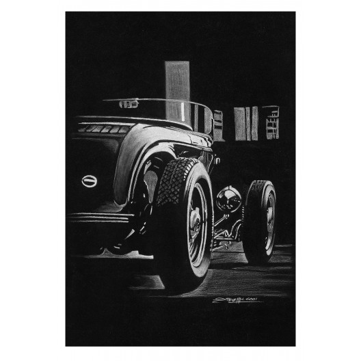 White on Black 32 Roadster Street Rod Art