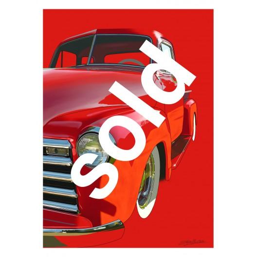 Red Truck Original painting automotive art