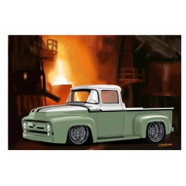 Green Ford Pickup automotive art