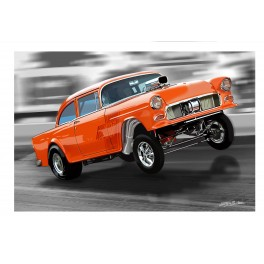 55 Chevy Gasser Drag Racing Art
