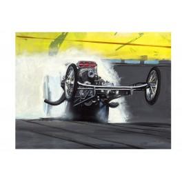 Wheel stand drag racing art